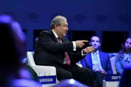 Armenian President in Davos held talks with representatives of Qatar  Investment Fund and Mitsubishi Group Japanese company